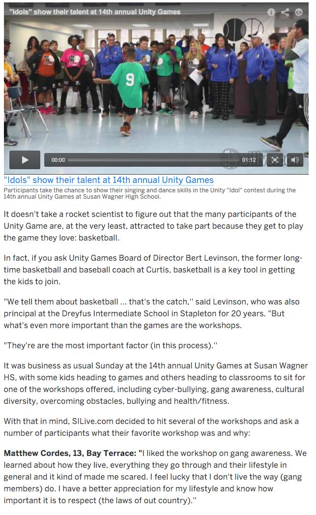 Staten Island Advance:  Unity Games – Kids Love Hoops, But Appreciate Workshops