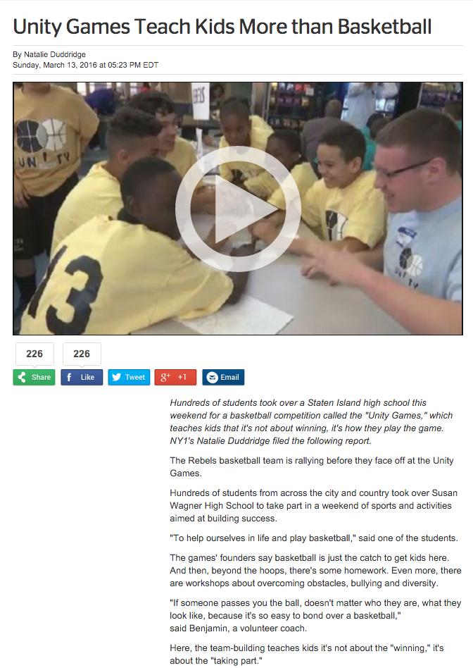 NY1:  Unity Games Teach Kids More Than Basketball