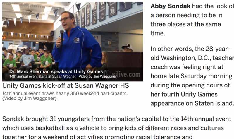 Staten Island Advance: Washington, D.C. has pipeline to 14th annual Unity Games